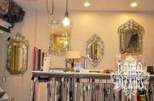 Spoguļi, Aizkari, aizkaru audumi, aizkaru dizains